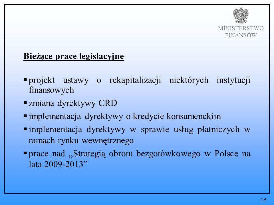 MINISTERSTWO FINANSÓW Bieżące prace legislacyjne projekt ustawy o rekapitalizacji niektórych instytucji finansowych zmiana dyrektywy CRD implementacja dyrektywy o kredycie konsumenckim implementacja dyrektywy w sprawie usług płatniczych w ramach rynku wewnętrznego prace nad Strategią obrotu bezgotówkowego w Polsce na lata 2009-2013 15