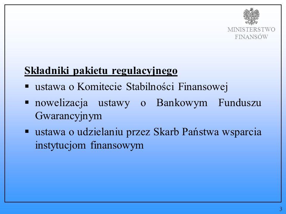 MINISTERSTWO FINANSÓW Składniki pakietu regulacyjnego ustawa o Komitecie Stabilności Finansowej nowelizacja ustawy o Bankowym Funduszu Gwarancyjnym ustawa o udzielaniu przez Skarb Państwa wsparcia instytucjom finansowym 3