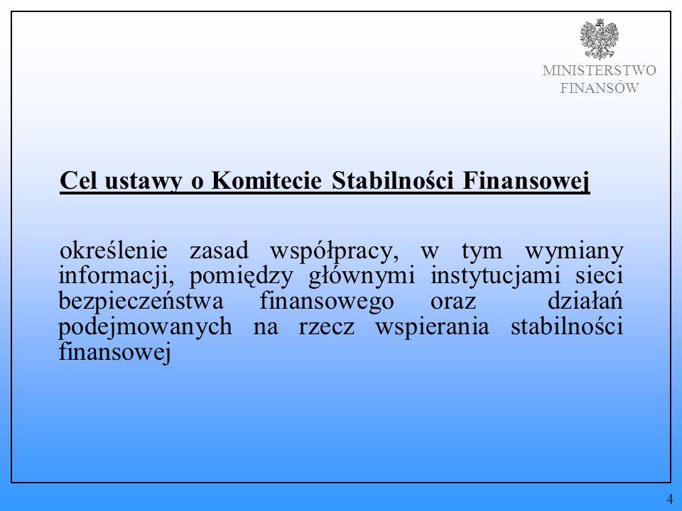 MINISTERSTWO FINANSÓW Cel ustawy o Komitecie Stabilności Finansowej określenie zasad współpracy, w tym wymiany informacji, pomiędzy głównymi instytucjami sieci bezpieczeństwa finansowego oraz działań podejmowanych na rzecz wspierania stabilności finansowej 4