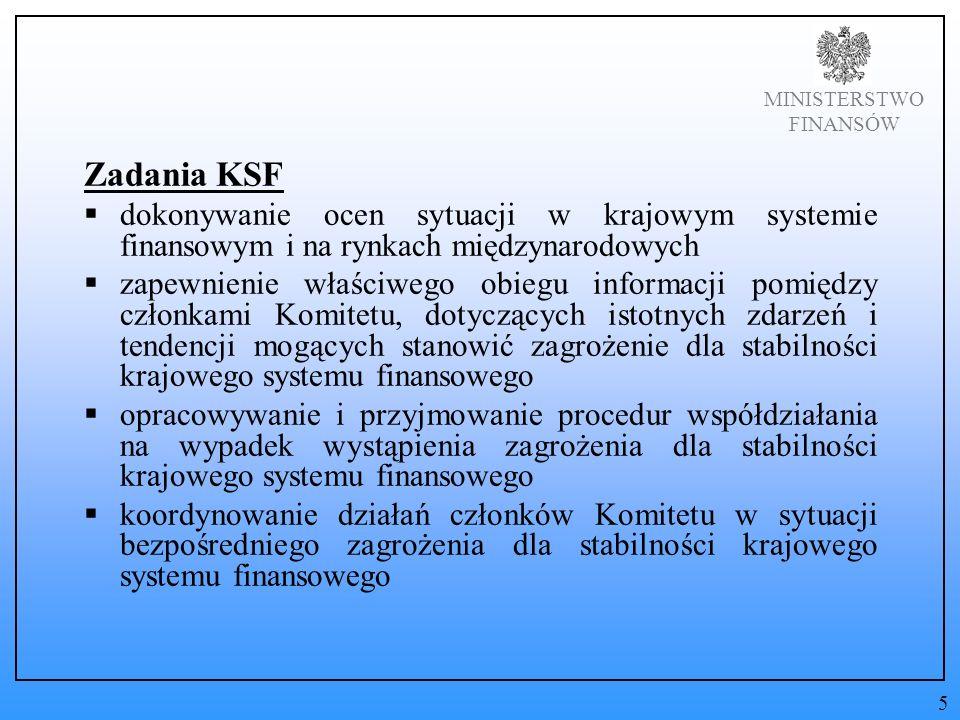 MINISTERSTWO FINANSÓW Zadania KSF dokonywanie ocen sytuacji w krajowym systemie finansowym i na rynkach międzynarodowych zapewnienie właściwego obiegu informacji pomiędzy członkami Komitetu, dotyczących istotnych zdarzeń i tendencji mogących stanowić zagrożenie dla stabilności krajowego systemu finansowego opracowywanie i przyjmowanie procedur współdziałania na wypadek wystąpienia zagrożenia dla stabilności krajowego systemu finansowego koordynowanie działań członków Komitetu w sytuacji bezpośredniego zagrożenia dla stabilności krajowego systemu finansowego 5