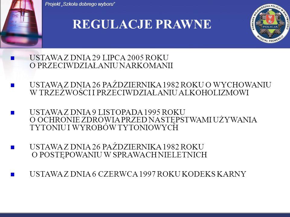 REGULACJE PRAWNE USTAWA Z DNIA 29 LIPCA 2005 ROKU O PRZECIWDZIAŁANIU NARKOMANII USTAWA Z DNIA 26 PAŹDZIERNIKA 1982 ROKU O WYCHOWANIU W TRZEŹWOŚCI I PRZECIWDZIAŁANIU ALKOHOLIZMOWI USTAWA Z DNIA 9 LISTOPADA 1995 ROKU O OCHRONIE ZDROWIA PRZED NASTĘPSTWAMI UŻYWANIA TYTONIU I WYROBÓW TYTONIOWYCH USTAWA Z DNIA 26 PAŹDZIERNIKA 1982 ROKU O POSTĘPOWANIU W SPRAWACH NIELETNICH USTAWA Z DNIA 6 CZERWCA 1997 ROKU KODEKS KARNY Projekt Szkoła dobrego wyboru