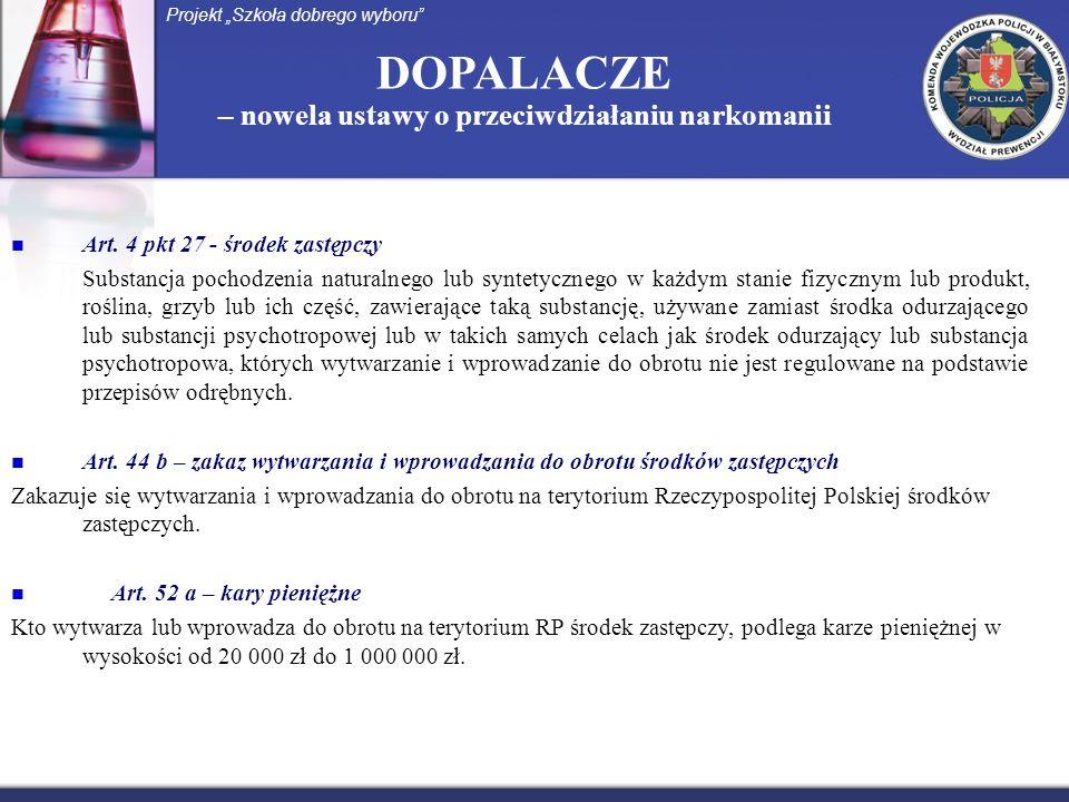 DOPALACZE – nowela ustawy o przeciwdziałaniu narkomanii Art. 4 pkt 27 - środek zastępczy Substancja pochodzenia naturalnego lub syntetycznego w każdym