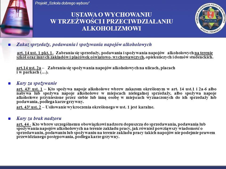 USTAWA O WYCHOWANIU W TRZEŹWOŚCI I PRZECIWDZIAŁANIU ALKOHOLIZMOWI Zakaz sprzedaży, podawania i spożywania napojów alkoholowych art. 14 ust. 1 pkt. 1-