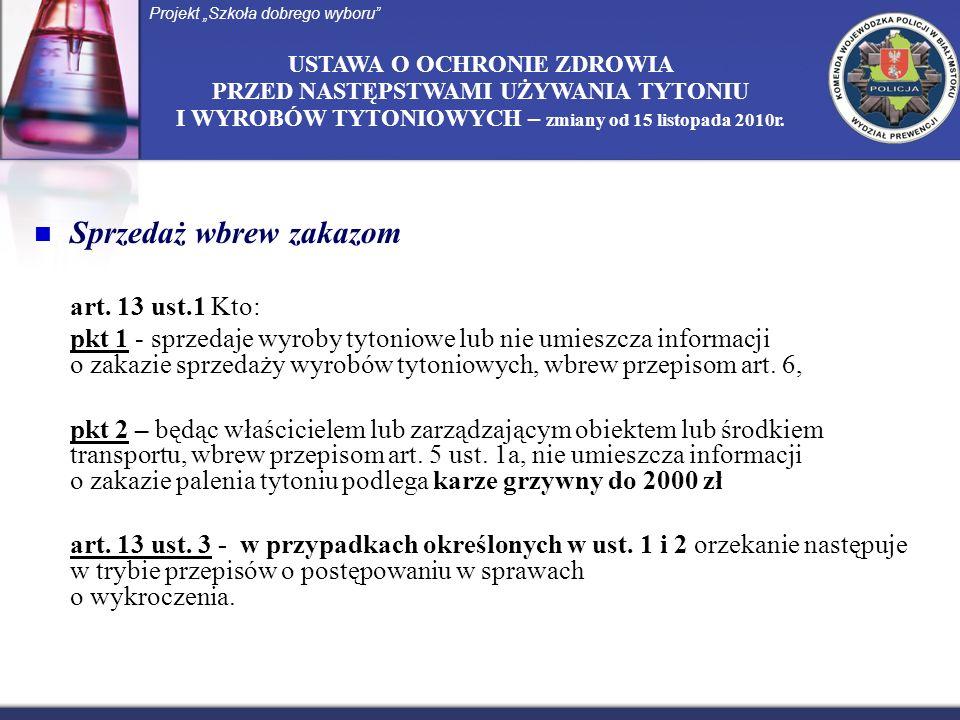 USTAWA O OCHRONIE ZDROWIA PRZED NASTĘPSTWAMI UŻYWANIA TYTONIU I WYROBÓW TYTONIOWYCH – zmiany od 15 listopada 2010r. Sprzedaż wbrew zakazom art. 13 ust