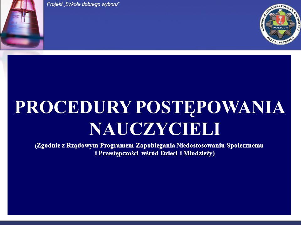 PROCEDURY POSTĘPOWANIA NAUCZYCIELI ( Zgodnie z Rządowym Programem Zapobiegania Niedostosowaniu Społecznemu i Przestępczości wśród Dzieci i Młodzieży) Projekt Szkoła dobrego wyboru