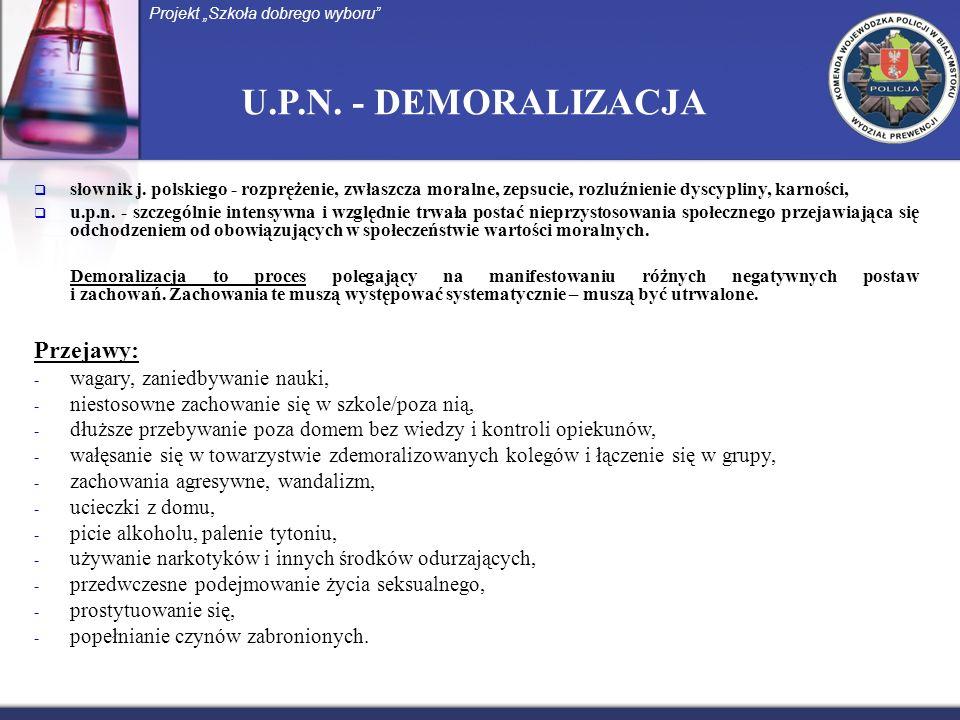 U.P.N. - DEMORALIZACJA słownik j. polskiego - rozprężenie, zwłaszcza moralne, zepsucie, rozluźnienie dyscypliny, karności, u.p.n. - szczególnie intens