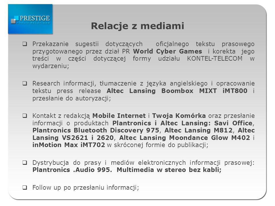 Relacje z mediami Kontakt z redakcjami LOGO, Playboy, Twój Styl, Avanti, Cosmopolitan, CKM, Sukces, Mens Health oraz przesłanie dodatkowcyh informacji wraz z wizualizacjami na temat słuchawki Plantronics Discovery Bluetooth 975 do publikacji; Research informacji i tłumaczenie z języka angielskiego materiałów na temat głośnika Altec Lansing M812; Przesłanie do prasy i mediów elektronicznych tekstu prasowego: Słuchawka Plantronics Savi Office; Follow up po przesłaniu informacji; Opracowanie informacji prasowej: Bezprzewodowy domowy system dźwiękowy Altec Lansing M812.