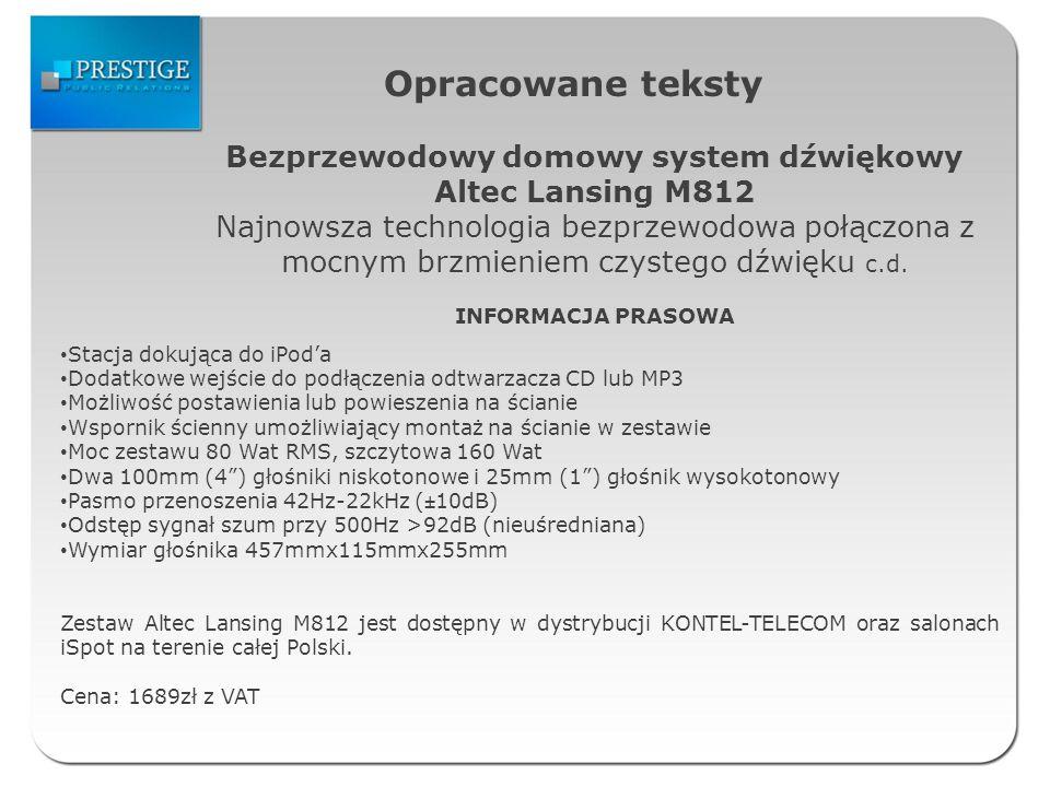 Opracowane teksty Bezprzewodowy domowy system dźwiękowy Altec Lansing M812 Najnowsza technologia bezprzewodowa połączona z mocnym brzmieniem czystego