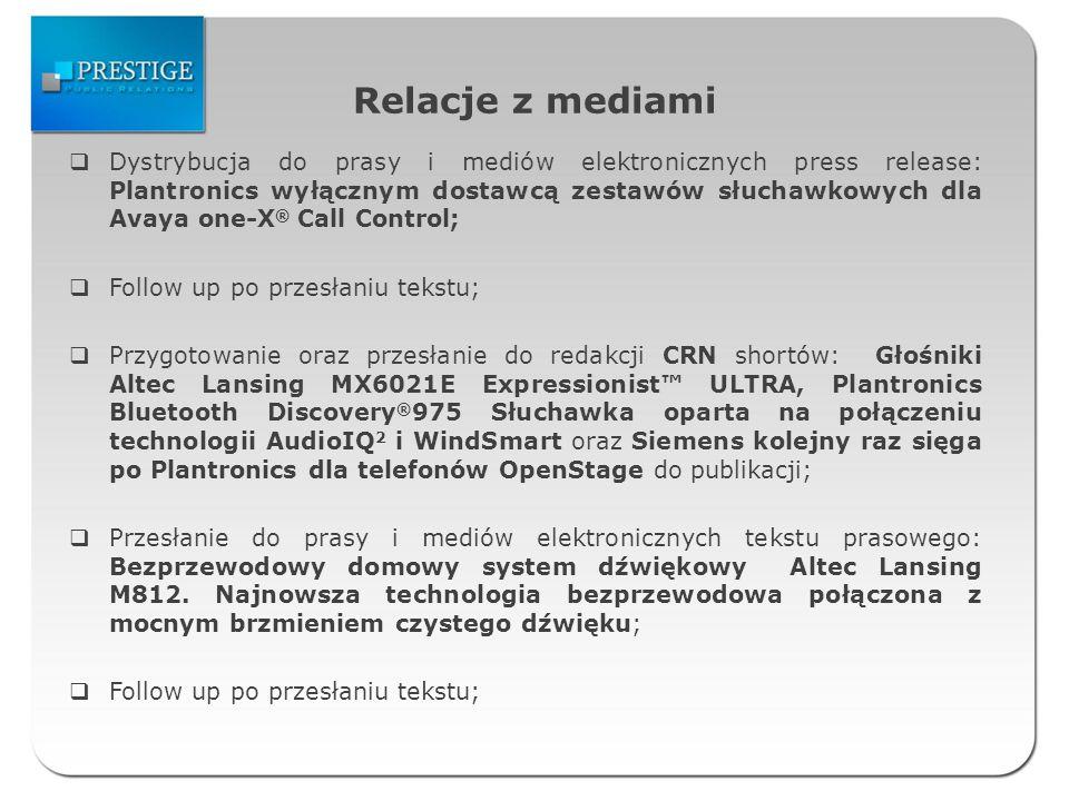 Relacje z mediami Kontakt z redakcjami PC World, PC Format, Chip i Komputer Świat oraz przesłanie dodatkowych informacji i wizualizacji na temat głośników Altec Lansing VS2621 i Altec Lansing FX3021 wraz z informacją o możliwości testowania produktów.