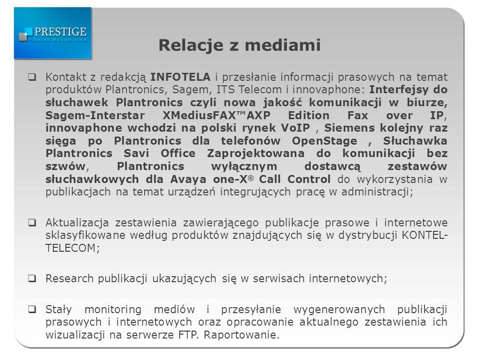 Relacje z mediami Kontakt z redakcją INFOTELA i przesłanie informacji prasowych na temat produktów Plantronics, Sagem, ITS Telecom i innovaphone: Inte