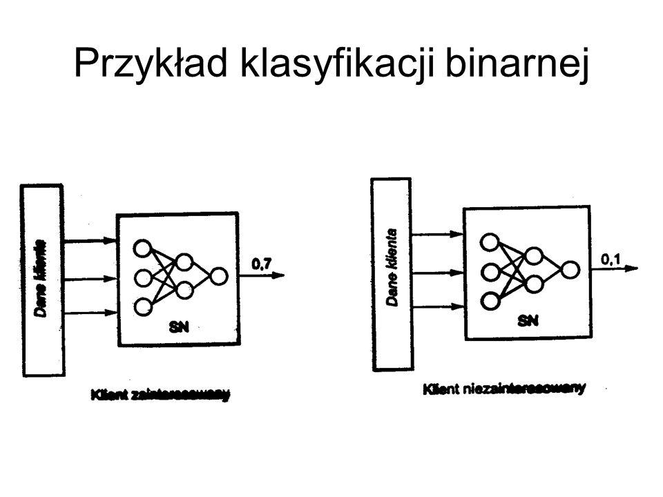 Sieć klasyfikująca Warto zwrócić uwagę na sposób zapisu struktury sieci......oraz na sposób oznaczania wyjścia z jedną zmienną nominalną o czterech mo