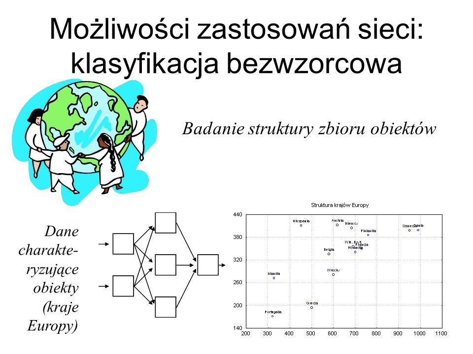 Inny przykład: przewidywanie liczby wstrząsów tektonicznych (dane dla Polski) Używano dwóch różnych sieci neuronowych – dla większej i mniejszej aktyw