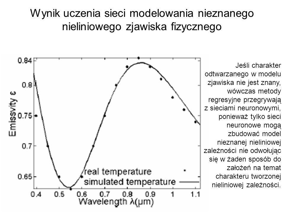 Inny przykład: przewidywanie liczby wstrząsów tektonicznych (dane dla Polski) Używano dwóch różnych sieci neuronowych – dla większej i mniejszej aktywności