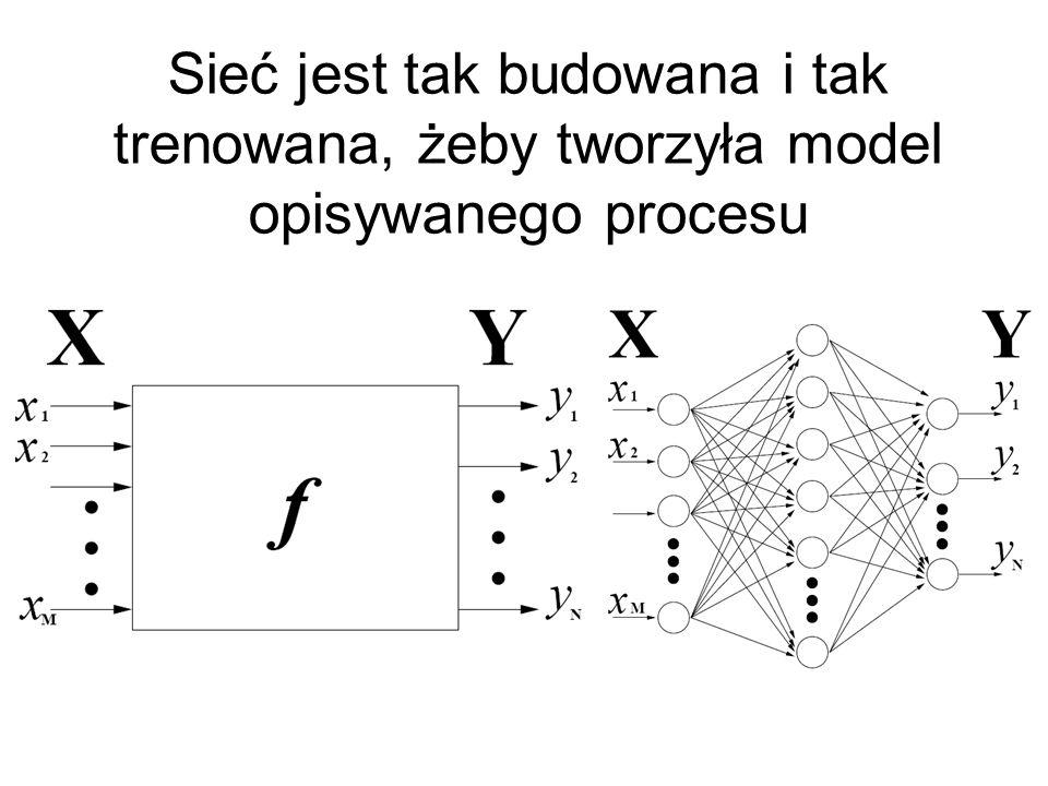 Sieć klasyfikująca Warto zwrócić uwagę na sposób zapisu struktury sieci......oraz na sposób oznaczania wyjścia z jedną zmienną nominalną o czterech możliwych wartościach 15 wejść