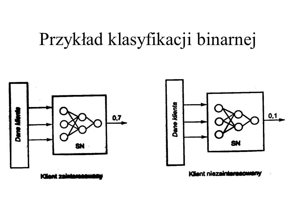 Możliwości zastosowań sieci: klasyfikacja wzorcowa Y=NN(X 1, X 2,..., X N ) Y - zmienna dyskretna X i - zmienne ciągłe lub dyskretne dochody, zabezpie