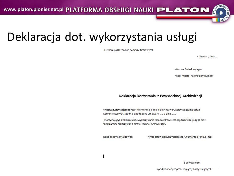 9 Deklaracja dot. wykorzystania usługi
