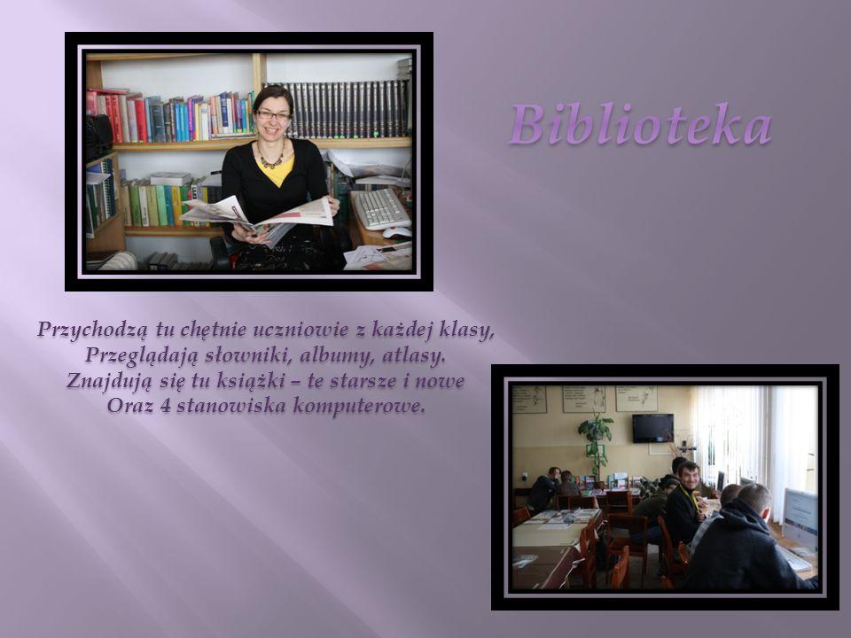 Przychodzą tu chętnie uczniowie z każdej klasy, Przeglądają słowniki, albumy, atlasy.