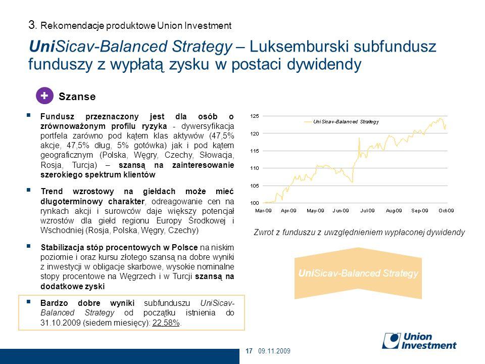 09.11.200917 Fundusz przeznaczony jest dla osób o zrównoważonym profilu ryzyka - dywersyfikacja portfela zarówno pod kątem klas aktywów (47,5% akcje,