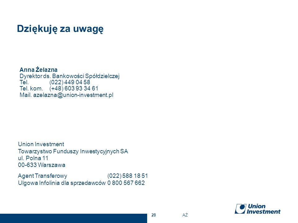 Anna Żelazna Dyrektor ds. Bankowości Spółdzielczej Tel. (022) 449 04 58 Tel. kom. (+48) 603 93 34 61 Mail. azelazna@union-investment.pl Union Investme