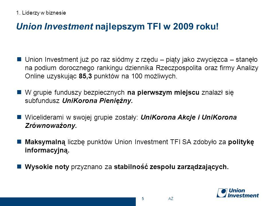 Union Investment najlepszym TFI w 2009 roku! Union Investment już po raz siódmy z rzędu – piąty jako zwycięzca – stanęło na podium dorocznego rankingu