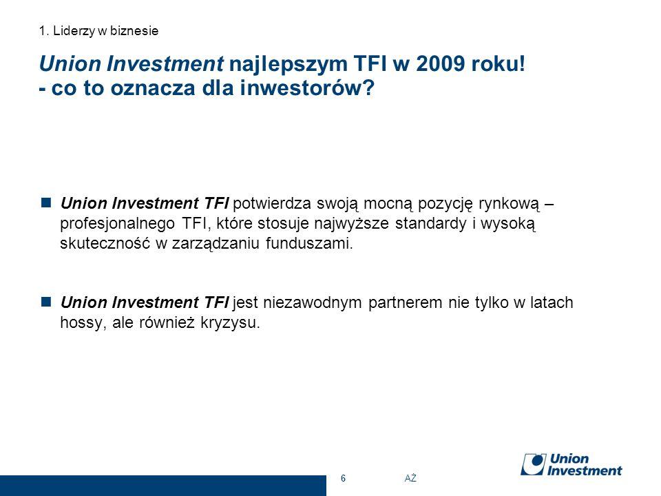 Union Investment najlepszym TFI w 2009 roku! - co to oznacza dla inwestorów? Union Investment TFI potwierdza swoją mocną pozycję rynkową – profesjonal