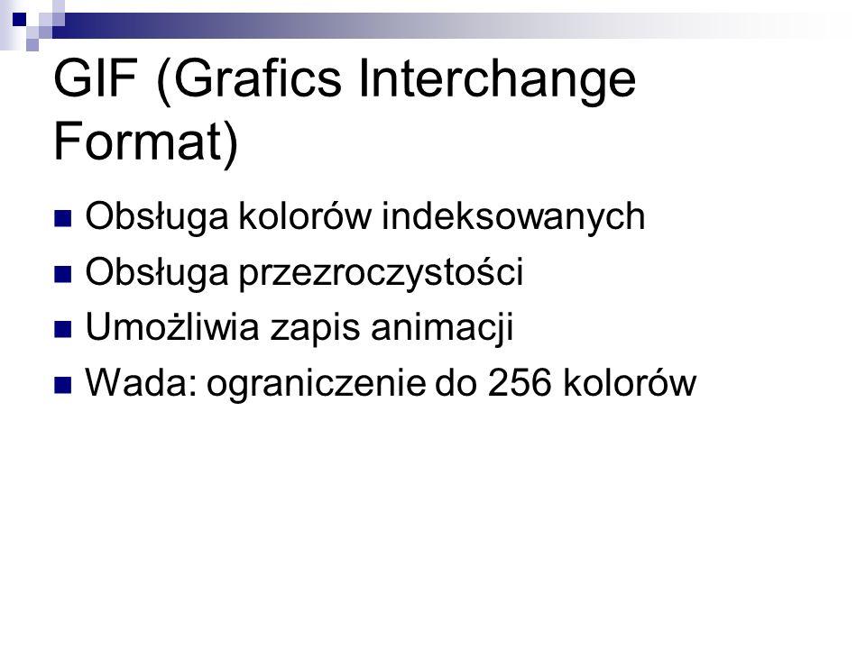 GIF (Grafics Interchange Format) Obsługa kolorów indeksowanych Obsługa przezroczystości Umożliwia zapis animacji Wada: ograniczenie do 256 kolorów