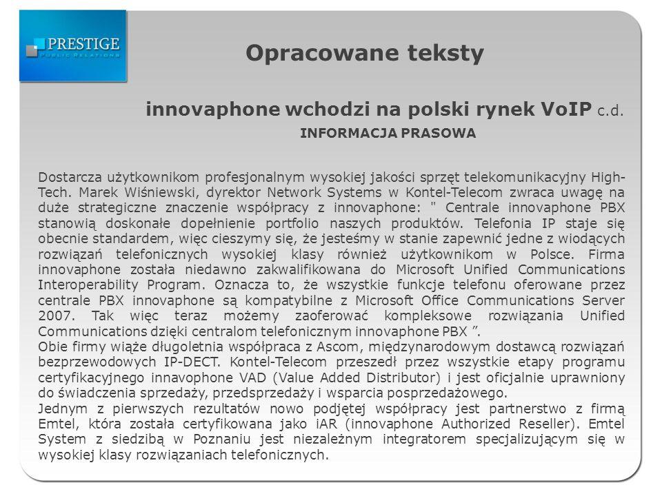 Opracowane teksty innovaphone wchodzi na polski rynek VoIP c.d.