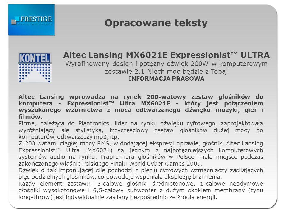 Opracowane teksty Altec Lansing MX6021E Expressionist ULTRA Wyrafinowany design i potężny dźwięk 200W w komputerowym zestawie 2.1 Niech moc będzie z Tobą.
