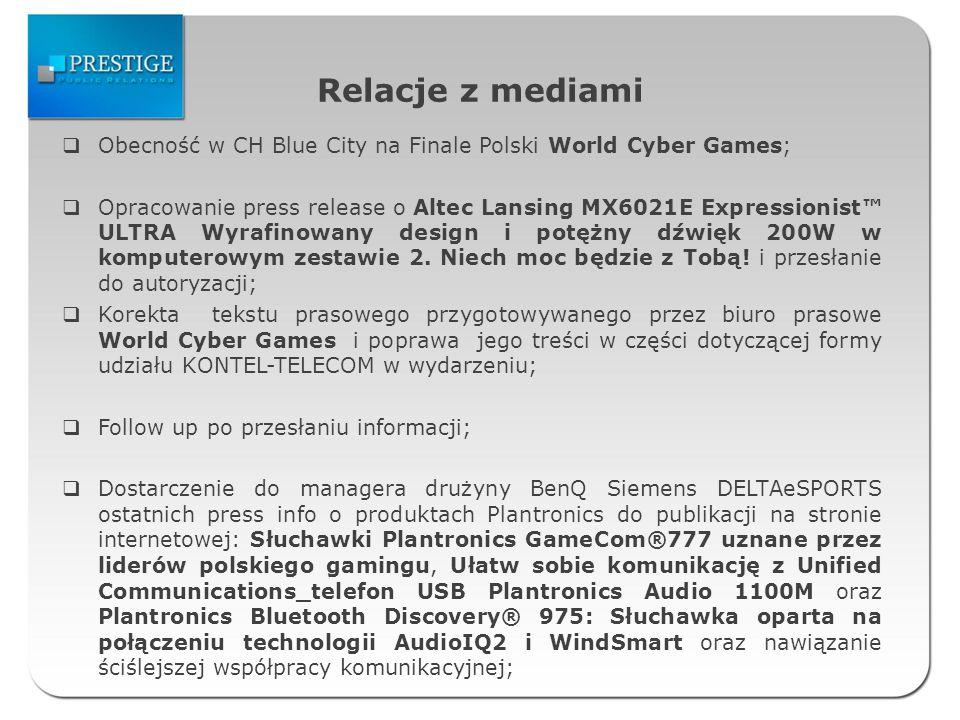 Relacje z mediami Obecność w CH Blue City na Finale Polski World Cyber Games; Opracowanie press release o Altec Lansing MX6021E Expressionist ULTRA Wyrafinowany design i potężny dźwięk 200W w komputerowym zestawie 2.