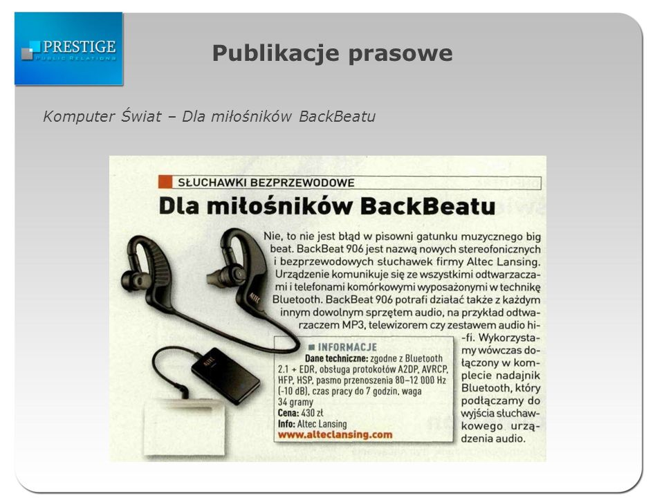 Publikacje prasowe Komputer Świat – Dla miłośników BackBeatu