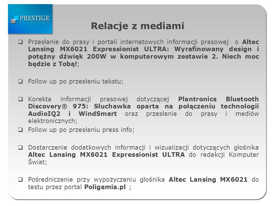 Relacje z mediami Przesłanie do prasy i portali internetowych informacji prasowej o Altec Lansing MX6021 Expressionist ULTRA: Wyrafinowany design i potężny dźwięk 200W w komputerowym zestawie 2.