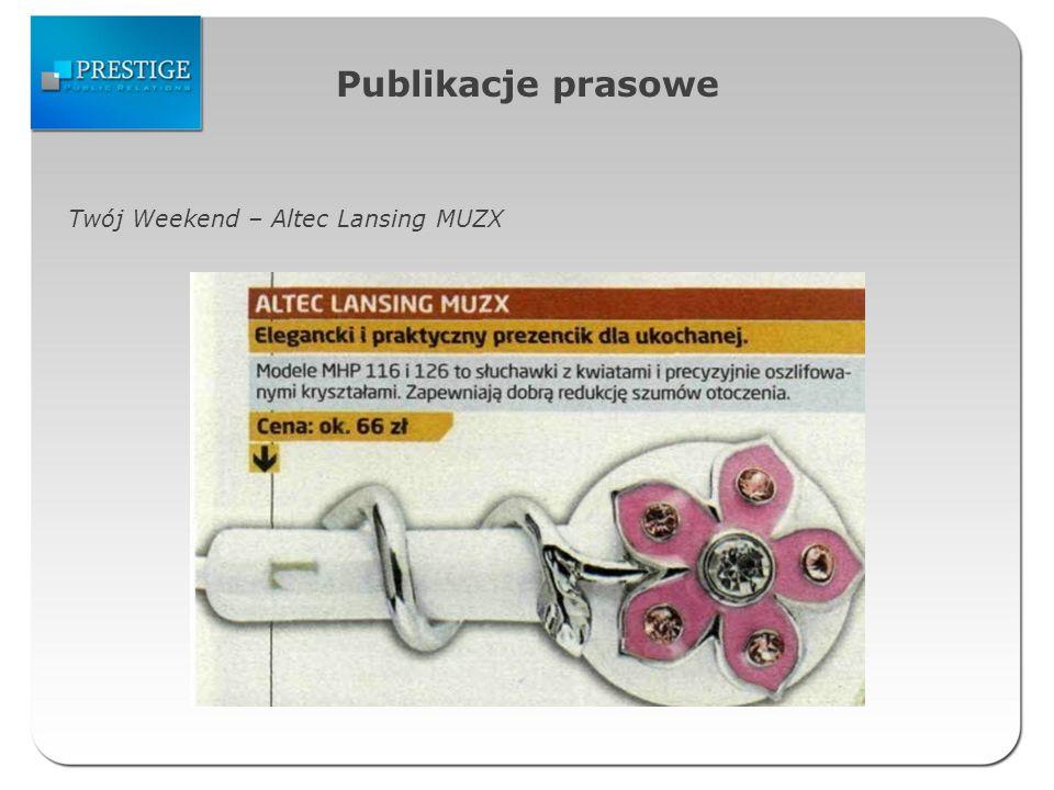 Publikacje prasowe Twój Weekend – Altec Lansing MUZX