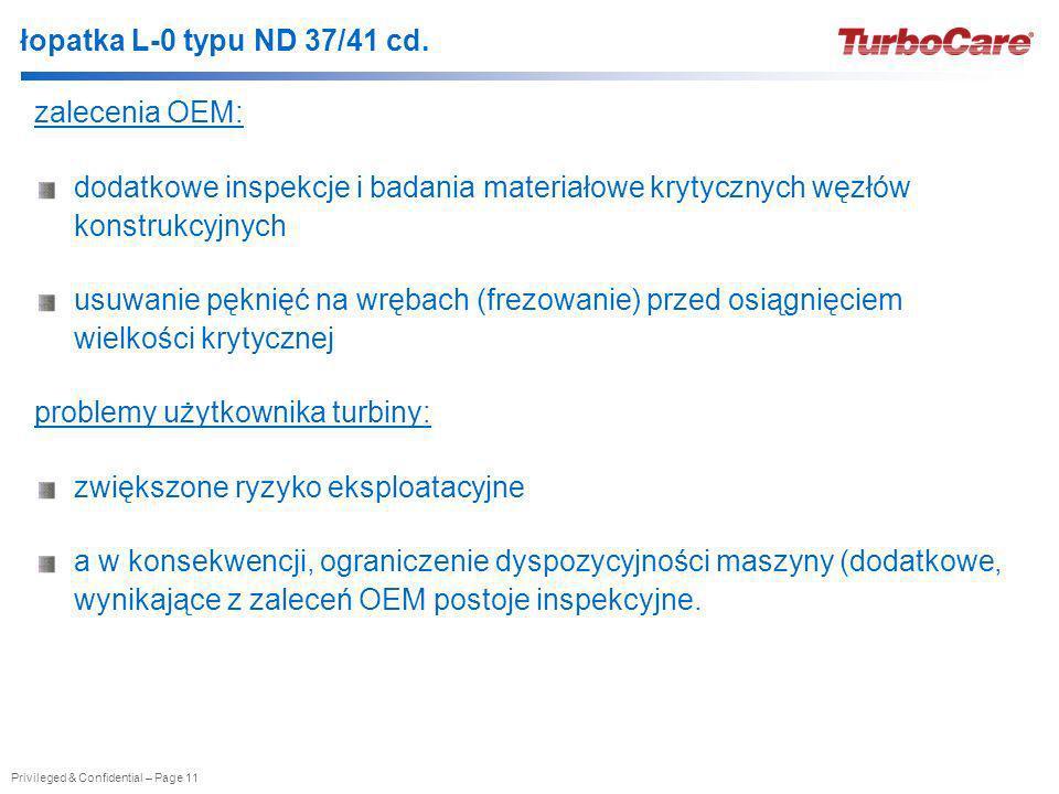 Privileged & Confidential – Page 11 łopatka L-0 typu ND 37/41 cd. zalecenia OEM: dodatkowe inspekcje i badania materiałowe krytycznych węzłów konstruk