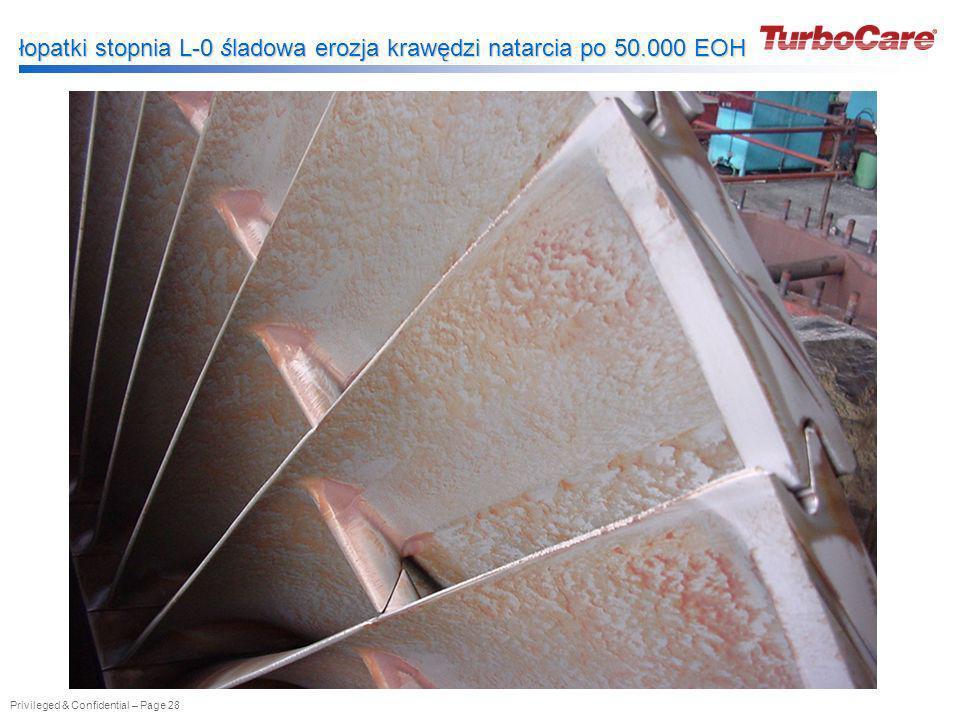 Privileged & Confidential – Page 28 łopatki stopnia L-0 śladowa erozja krawędzi natarcia po 50.000 EOH