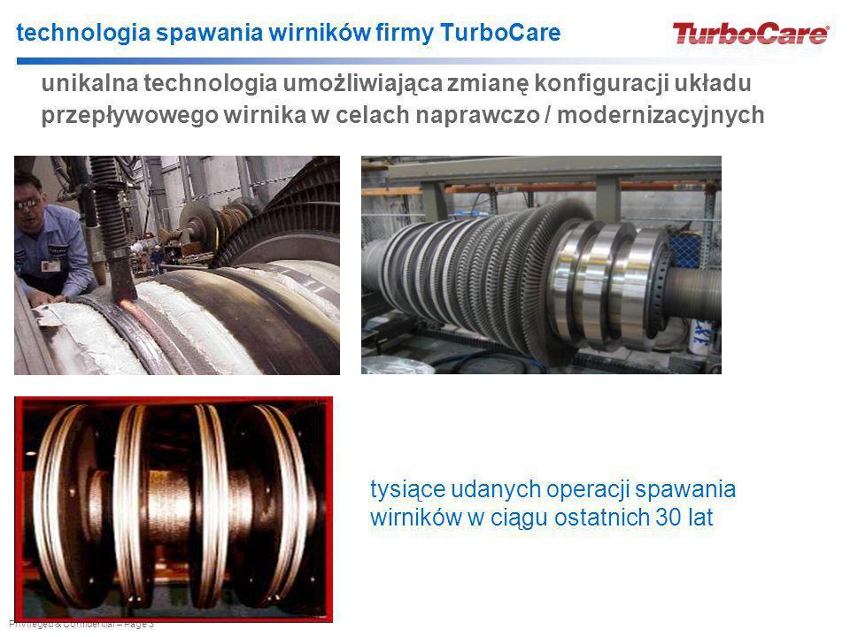 Privileged & Confidential – Page 3 technologia spawania wirników firmy TurboCare unikalna technologia umożliwiająca zmianę konfiguracji układu przepły