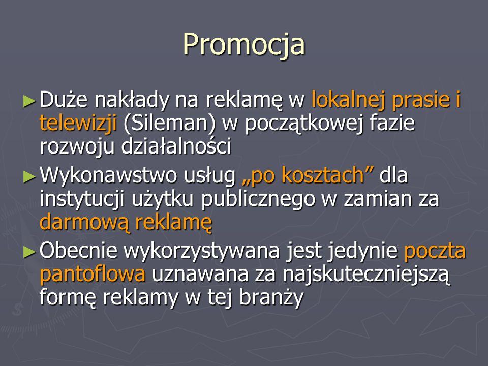 Promocja Duże nakłady na reklamę w lokalnej prasie i telewizji (Sileman) w początkowej fazie rozwoju działalności Duże nakłady na reklamę w lokalnej p