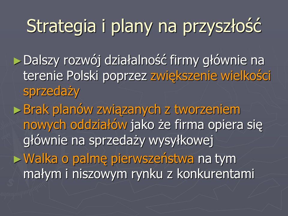 Strategia i plany na przyszłość Dalszy rozwój działalność firmy głównie na terenie Polski poprzez zwiększenie wielkości sprzedaży Dalszy rozwój działa