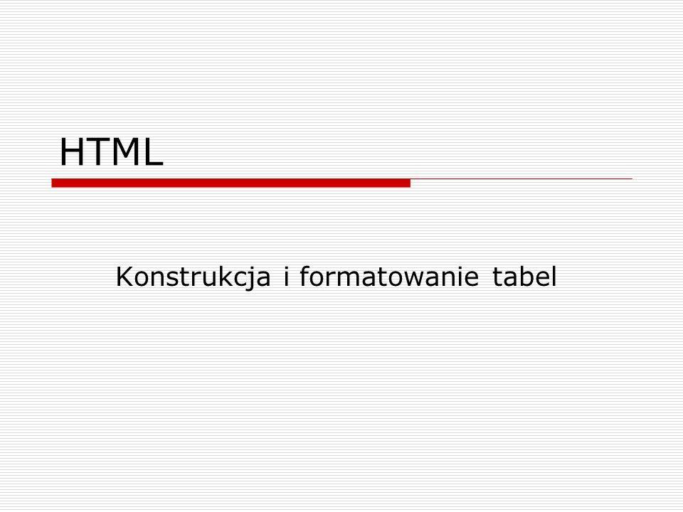 HTML Konstrukcja i formatowanie tabel