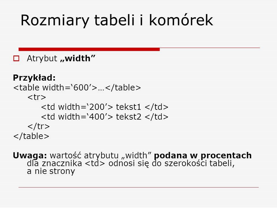 Rozmiary tabeli i komórek Atrybut width Przykład: … tekst1 tekst2 Uwaga: wartość atrybutu width podana w procentach dla znacznika odnosi się do szerok