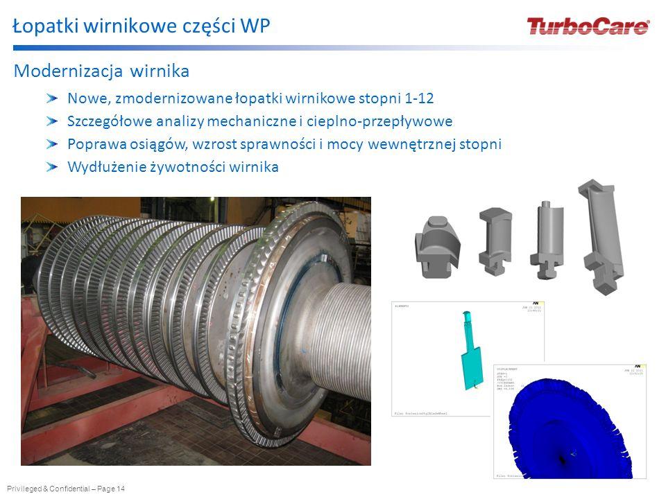 Privileged & Confidential – Page 15 Łopatki TurboCare Zaawansowane aerodynamicznie łopatki stacjonarne i wirnikowe TurboCare projektowane są z wykorzystaniem sprawdzonych technik i narzędzi projektowych