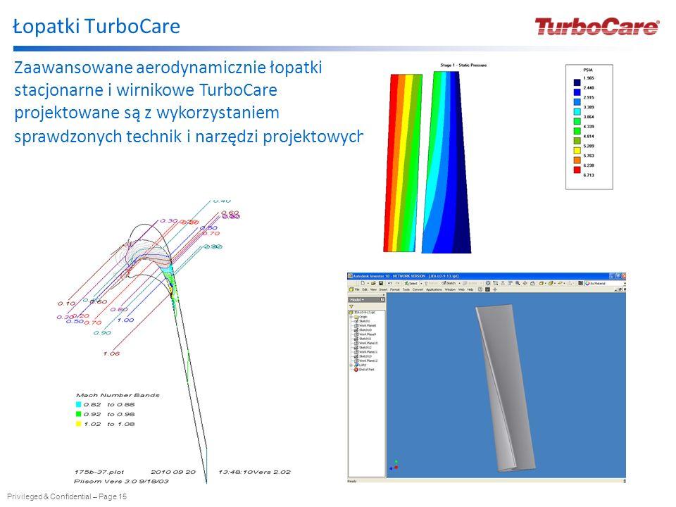 Privileged & Confidential – Page 15 Łopatki TurboCare Zaawansowane aerodynamicznie łopatki stacjonarne i wirnikowe TurboCare projektowane są z wykorzy