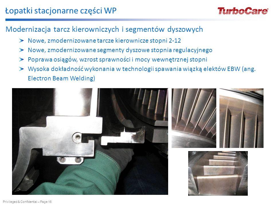 Privileged & Confidential – Page 16 Łopatki stacjonarne części WP Modernizacja tarcz kierowniczych i segmentów dyszowych Nowe, zmodernizowane tarcze k