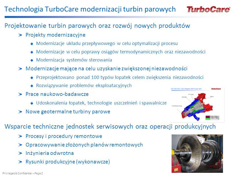 Privileged & Confidential – Page 2 Technologia TurboCare modernizacji turbin parowych Projektowanie turbin parowych oraz rozwój nowych produktów Proje
