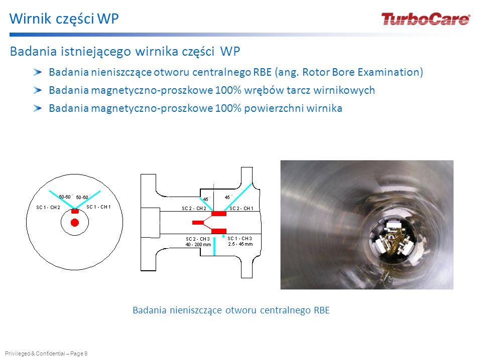 Privileged & Confidential – Page 9 Wirnik części WP Badania istniejącego wirnika części WP Badania nieniszczące otworu centralnego RBE (ang. Rotor Bor
