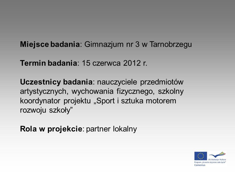 Miejsce badania: Gimnazjum nr 3 w Tarnobrzegu Termin badania: 15 czerwca 2012 r.
