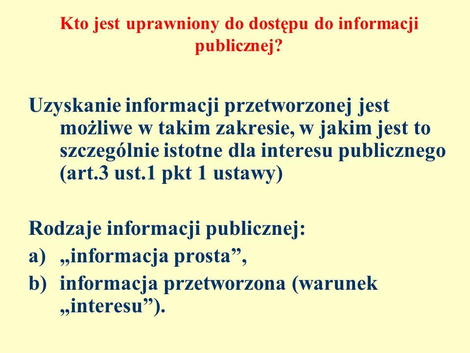 Kto jest uprawniony do dostępu do informacji publicznej? Uzyskanie informacji przetworzonej jest możliwe w takim zakresie, w jakim jest to szczególnie