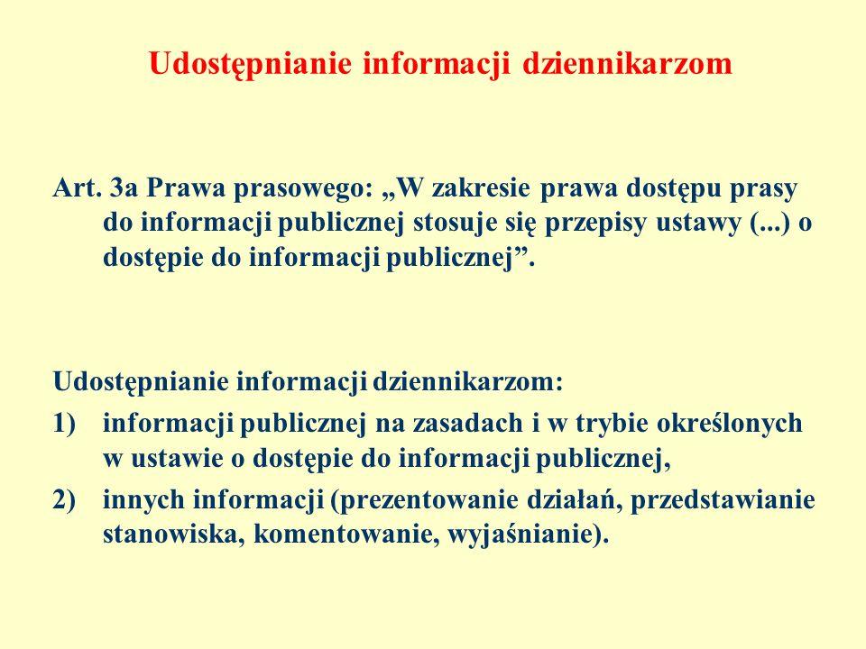 Udostępnianie informacji dziennikarzom Art. 3a Prawa prasowego: W zakresie prawa dostępu prasy do informacji publicznej stosuje się przepisy ustawy (.