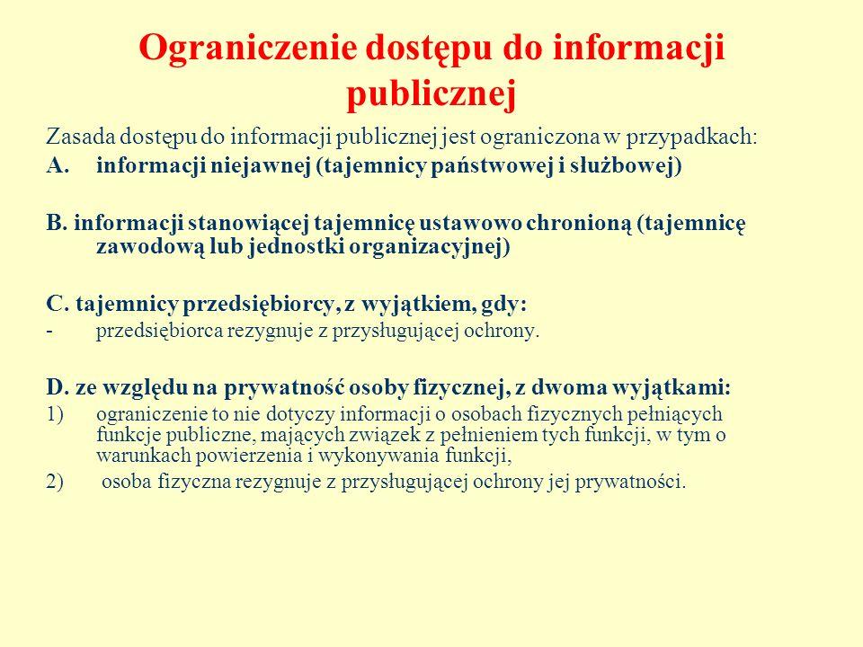 Ograniczenie dostępu do informacji publicznej Zasada dostępu do informacji publicznej jest ograniczona w przypadkach: A.informacji niejawnej (tajemnic