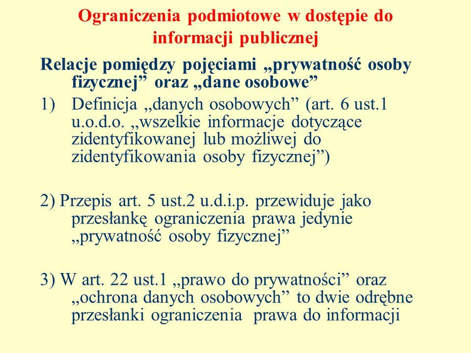 Ograniczenia podmiotowe w dostępie do informacji publicznej Relacje pomiędzy pojęciami prywatność osoby fizycznej oraz dane osobowe 1)Definicja danych