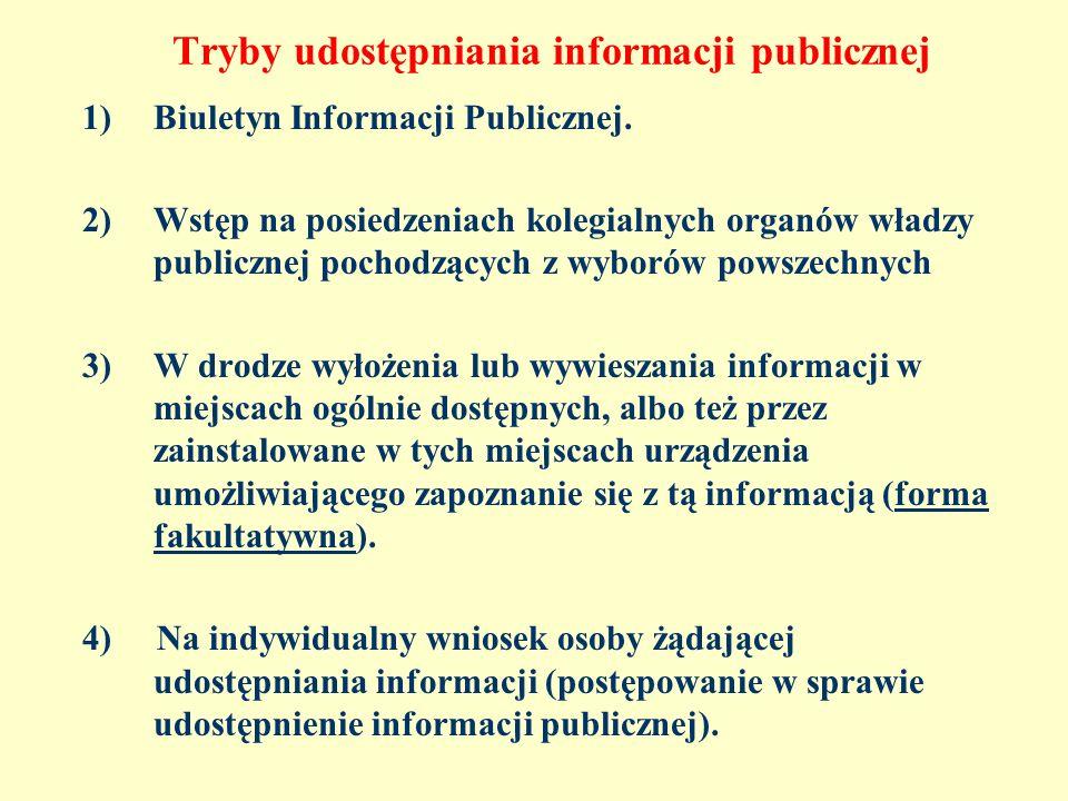 Tryby udostępniania informacji publicznej 1)Biuletyn Informacji Publicznej. 2)Wstęp na posiedzeniach kolegialnych organów władzy publicznej pochodzący